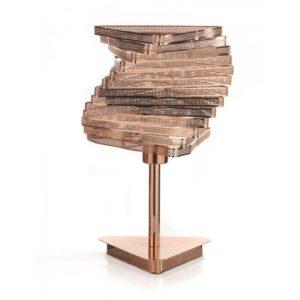 Lampe design-en métal cuivré H.40cm – SCULPTURE DÉCALÉE