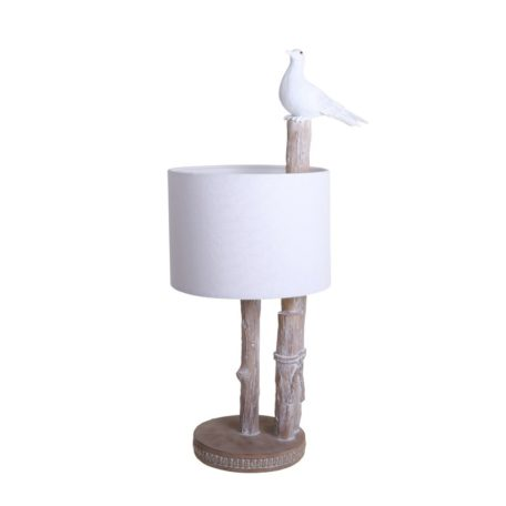 Lampe oiseau avec branches effet bois bord de mer.