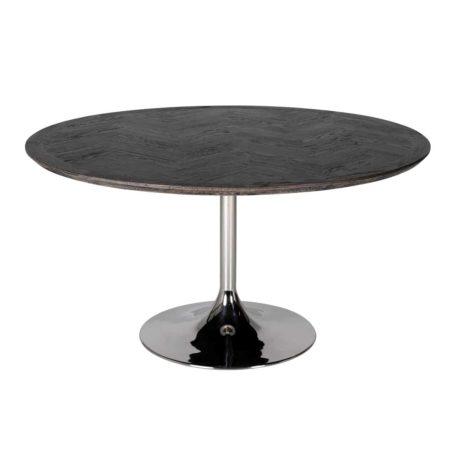 Table blackbone silver pied central en acier argent et plateau rond en bois noir