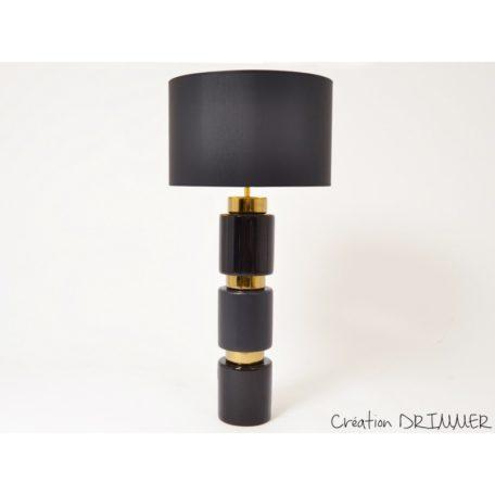 Lampe STRIPE en ceramique noire et or