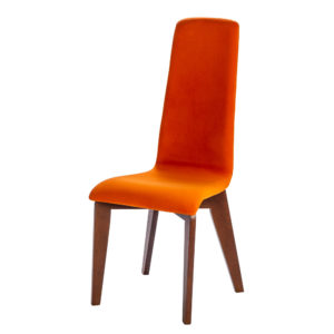 chaise tissu orange pieds chene