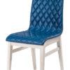 chaise tissu matelasse bleu pieds blancs