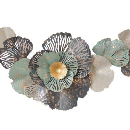 Sculpture murale fleurs sur feuillage ginkgo