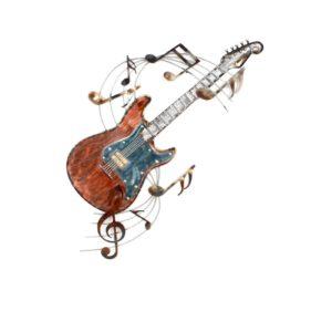 Décoration murale représentant une guitare colorée et une partiton de musique.