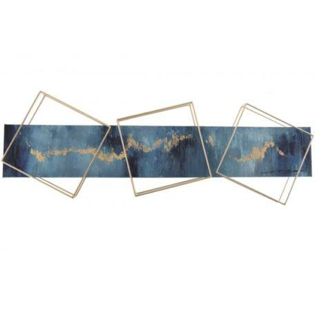 Tableau abstrait bleu et dore avec structures metal or