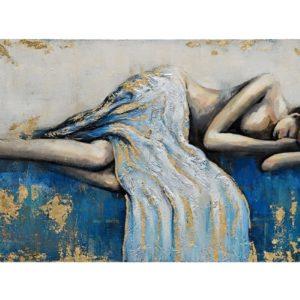 Tableau peinture sur toile femme endormie nue teintes bleu or