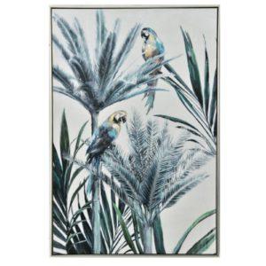 Tableau peinture sur toile encadrement alluminium 120x80cm  – PALMIERS PERROQUETS