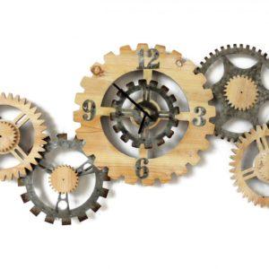 Horloge industrielle 102×49 cm design Socadis- ENGRENAGES METAL/BOIS