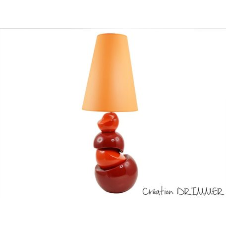 Lampe ceramique orange et rouge collection PETRA.