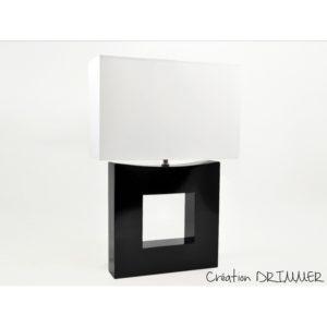lampe noire abat-jour blanc