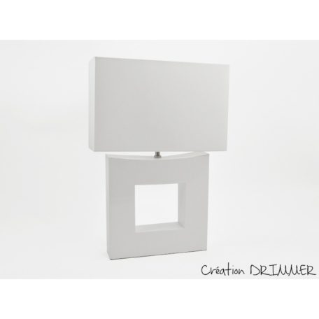 Lampe design SQUARE ceramique blanche, abat-jour blanc