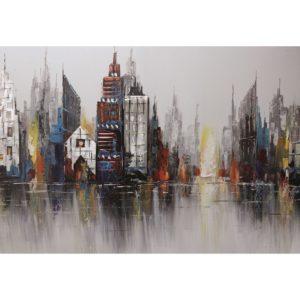 Peinture sur toile urbaine representant une ville et ses immeubles