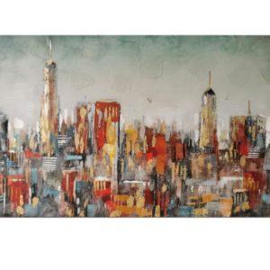 Peinture sur toile ville avec immeubles multicolore.