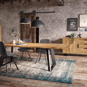 Salle à manger chêne et métal style industriel – BOTAN
