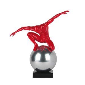 Statue design homme rouge sur boule chromée 62cm Socadis – STABILITA