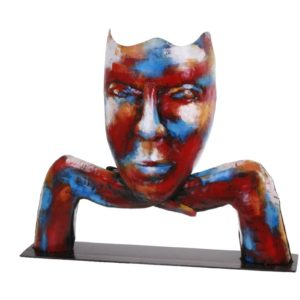 statue-visage-maque-metal-couleurs