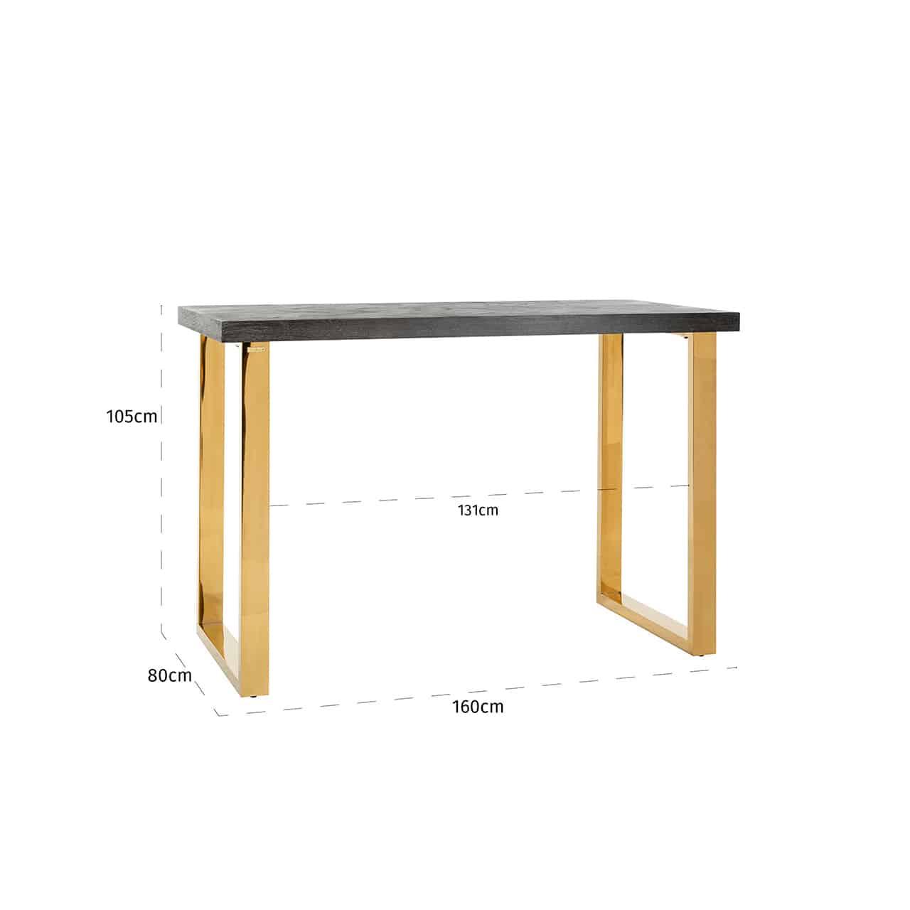 Table Bar Hauteur 105cm Pour Cuisine Pieds Or Gold Plateau Bois