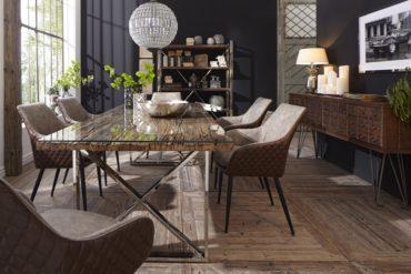 COUP DE COEUR : pour la table design plateau en bois recyclé et pieds acier chromé
