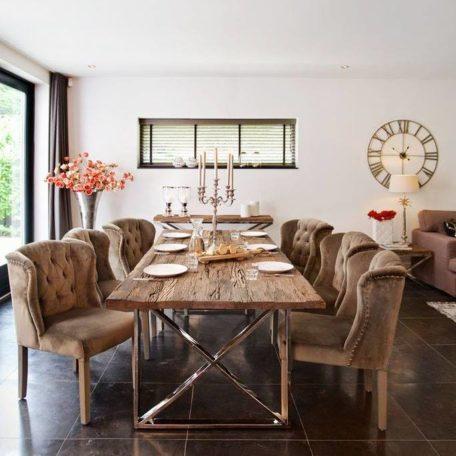 table design pieds argent chrome plateau bois brut