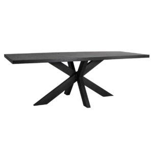 Table rectangulaire plateau bois noir pied croix metal noir Richmond Interiors – OAKURA