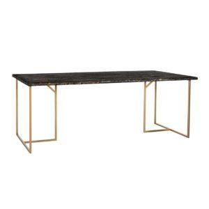 Table rectangulaire plateau résine noire pieds métal doré Richmond Interiors – BELFORT