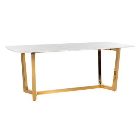 Table design dynasty plateau en marbre blanc et pietement en metal or
