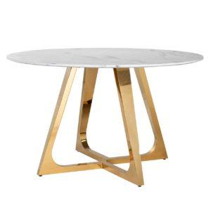 Table ronde plateau marbre blanc pieds acier doré design Richmond Interiors – DYNASTY