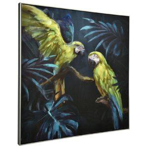 deco perroquets exotique bleu vert jaune