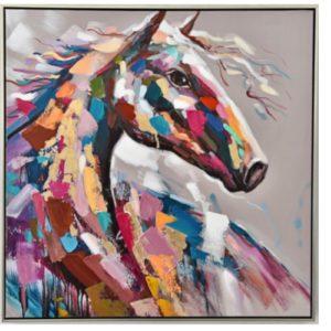 Peinture sur toile cheval fougueux multicolore.