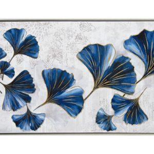 Tableau moderne bleu gris et or representant des feuilles de Ginkgo Biloba