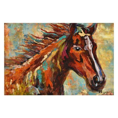 Tableau peinture sur toile multicolore cheval criniere dans le vent