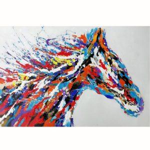 Peinture sur toile cheval multicolore