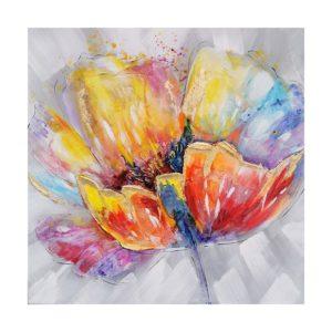 Tableau peint a la main fleur multicolore.