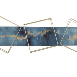 tableau-peinture-main-bleu-or-structure-metal-dore
