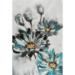 Peinture sur toile marguerites bleues gris noir et or