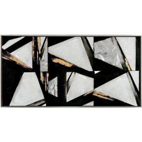 Tableau abstrait formes eclats blancs gris dores
