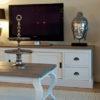 grand meuble tv bois blancs poignets metal