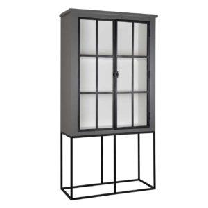 armoire sur pieds metal bois gris