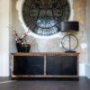 bahut industriel bois brut portes metal acier noir mat collection raffles richmond interiors