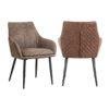 chaise cuir pu vintage marron chrissy
