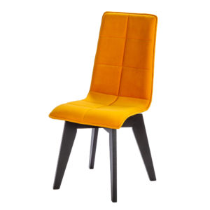 "Chaise ""Zao"" en tissu jaune mangue avec pied rotatif en chene noir a 180°c"