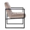 chaise design haut de gamme velours beige pieds accoudoirs metal noir
