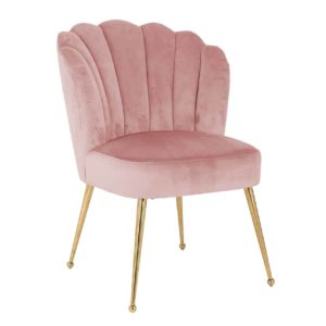 chaise design velours rose pieds or