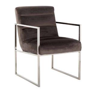 chaise-design-rosa-velours-stone-marron-pied-accoudoir-argent-chrome-richmond-interiors-magasin-meubles-boisetdeco-nord-aisnes-picardie-france