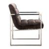 chaise design velours marron accoudoirs pieds metal argent chrome brillant