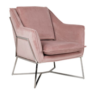 fauteuil velours rose