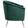 fauteuil vert pieds or