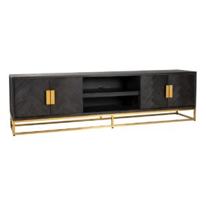 meuble tv qualite chene noir metal or dore brillant