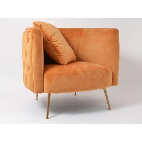 fauteuil velours orange dore