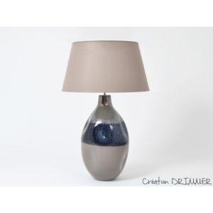 lampe ceramique bleu gris effet argent